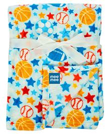 Mee Mee Multi Purpose Blanket With Ball Print - Blue