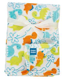 Mee Mee Multi Purpose Blanket With Dinosaur Print - Blue Orange