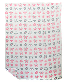 Mee Mee Multi Purpose Blanket With Butterfly Print - White Pink Grey
