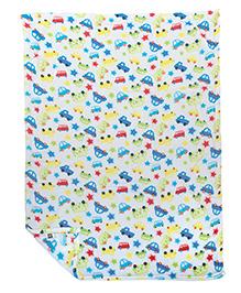 Mee Mee Multi Purpose Blanket With Car Print - White Multicolour