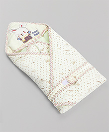 Mee Mee Hooded Cotton Knitted Blanket With Bunny Patch - Cream