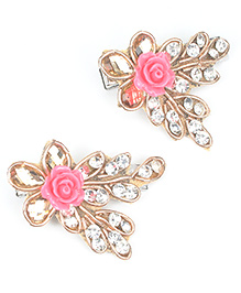 Asthetika Zardosi Ethnic Floral Hair Clip Set Of 2 - Pink