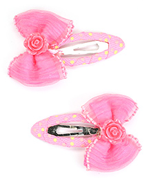 Asthetika Bow Hair Clips Set Of 2 - Pink