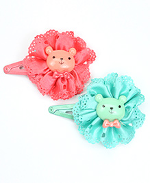 Asthetika Teddy Bear Hair Clips Set Of 2 - Blue & Pink