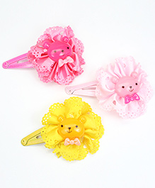 Asthetika Teddy Bear Hair Clips Set Of 3 - Multicolour