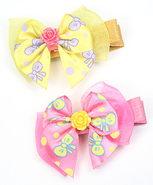 Asthetika Colourful Bow Hair Clips Set Of 2 - Yellow & Pink