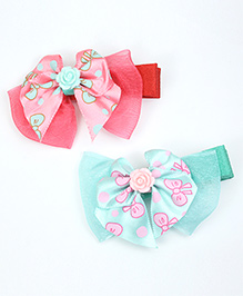 Asthetika Colourful Bow Hair Clips Set Of 2 - Pink & Blue
