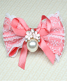 Asthetika Bow Hair Clip With Pearl - Pink