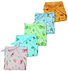 Babyhug Rabbit Print Cloth Baby Diaper - Set of 5