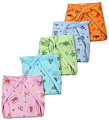 Babyhug Rabbit Print Cloth Diaper Size 1 - Set Of 5