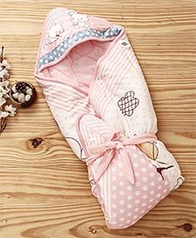 Mee Mee Blanket With Hood With Animal Print - Light Pink