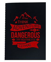 The Crazy Me A5 Thread Bound Diary Dangerous Print - Black Red
