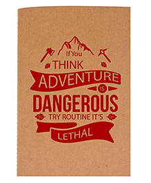 The Crazy A5 Thread Bound Diary Quote Print - Red Beige