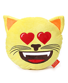 My Baby Excels Emoji Cat In Love Cushion Yellow - 30 Cm - 1834485