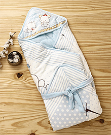 Mee Mee Blanket With Hood With Animal Print - Light Blue