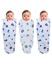 Wonder Wee Muslin Cotton Swaddle Wrappers Octopus Print Print Pack Of 3 - Blue Purple