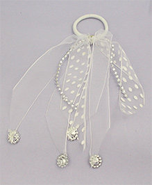 Tia Hair Accessories Polka Dot Rubber Band With Veils - White