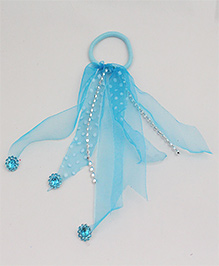 Tia Hair Accessories Polka Dot Rubber Band With Veils - Blue