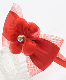 Tia Hair Accessories Floral And Pearl Studded Hair Band - Red