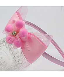 Tia Hair Accessories Floral And Pearl Studded Hair Band - Pink