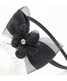 Tia Hair Accessories Floral And Pearl Studded Hair Band - Black