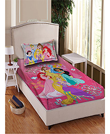 Disney Princess Cotton Single Bedsheet With 1 Pillow Cover - Pink