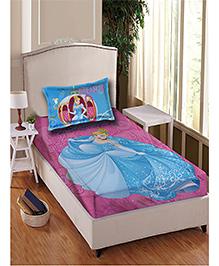 Disney Princess Single Bedsheet With 1 Pillow Cover - Blue Pink