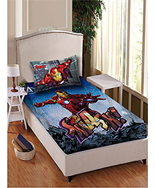 Marvel Iron Man Cotton Single Bedsheet With 1 Pillow Cover - Red Blue