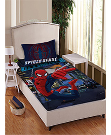 Marvel Spider Man Single Bedsheet With 1 Pillow Cover - Blue Red