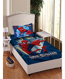 Marvel Spider Man Single Bedsheet With 1 Pillow Cover - Blue & Red