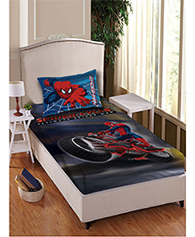 Marvel Spider Man Single Bedsheet With 1 Pillow Cover - Multi Color