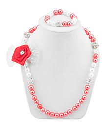 Daizy Adorable Bow Necklace & Bracelet Set - Red & White