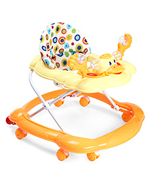 Musical Baby Walker With Stopper Duck Design - Orange & Yellow