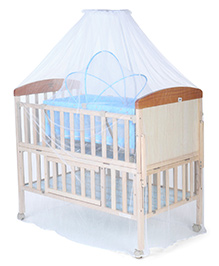 Mee Mee Wooden Baby Cot With Cradle & Mosquito Net - Blue & Cream
