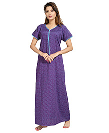 Eazy Short Sleeves Maternity Nursing Nighty Floral Print - Blue