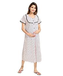 Eazy Short Sleeves Maternity Nursing Nighty - White Black