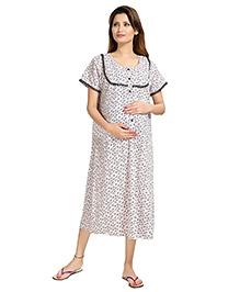 Eazy Short Sleeves Maternity Nursing Nighty Floral Print - White Black