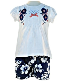 Nauti Nati - Embroidered Top With Printed Shorts