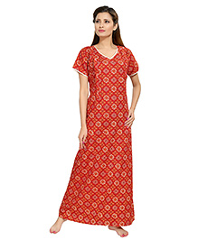 Eazy Short Sleeves Maternity Nursing Nighty Floral Print - Red