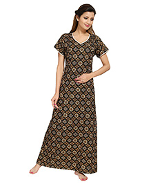 Eazy Short Sleeves Maternity Nursing Nighty Floral Print - Black