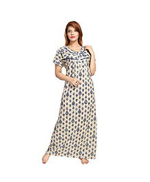 Eazy Short Sleeves Women's Pleated Front Open Nighty - Blue