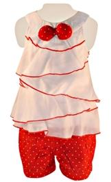 Nauti Nati - Sleeveless Tiered Top With Polka Print Shorts
