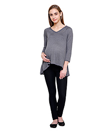 Tiara Maternity Three-Fourth Sleeve Short Tunic - Grey