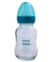 Mee Mee Premium Glass Feeding Bottle Blue - 120 Ml