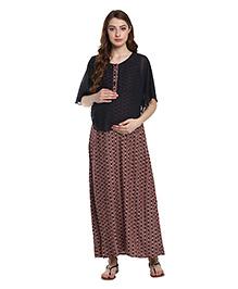 Mine4Nine Layered Floral Printed Maternity Dress - Blue