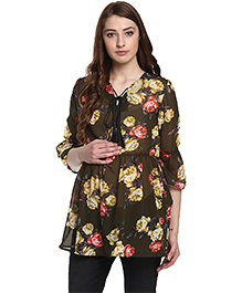 Mine4Nine Gathered Printed Maternity Top - Olive