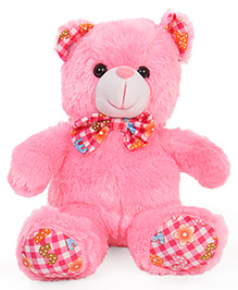 Dimpy Stuff Teddy Bear Soft Toy With Checkered Bow Pink - 42 Cm