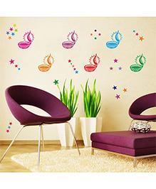 Orka Digital Printed Diya's Design Wall Sticker - Multi Colour