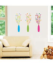Orka Digital Printed Flower Pots Design Wall Sticker - Blue Green & Pink