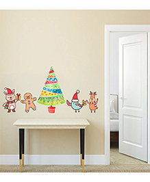 Orka Digital Printed Christmas Tree With Animals Design Wall Sticker - Multi Colour
